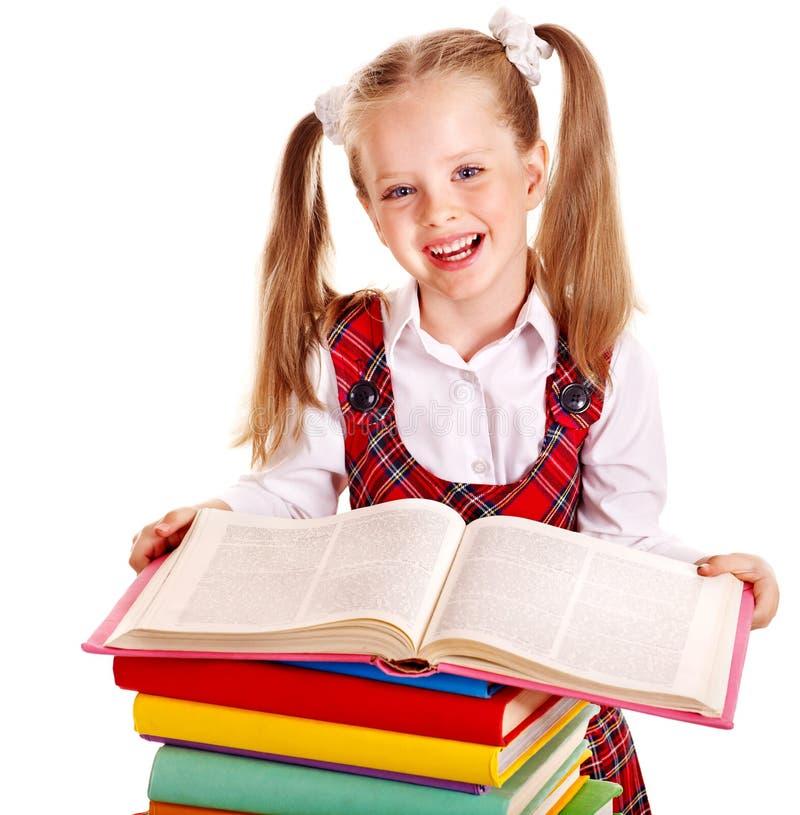 Barn med buntboken. fotografering för bildbyråer