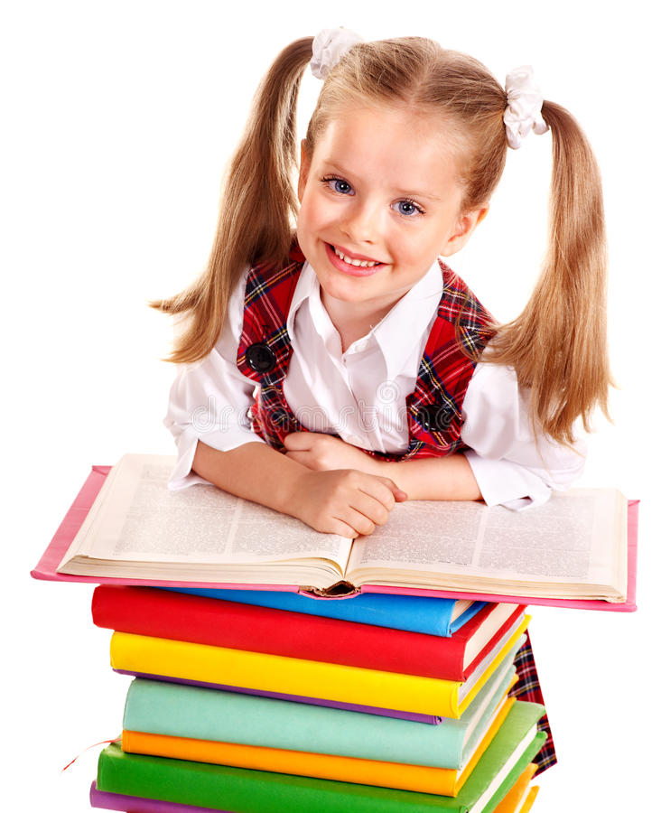 Barn med buntboken. royaltyfri bild