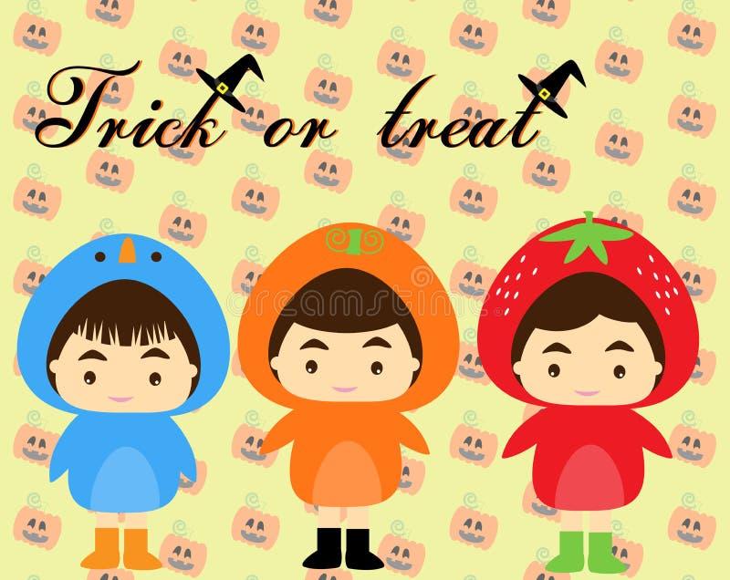 Barn med den halloween dräkten vektor illustrationer