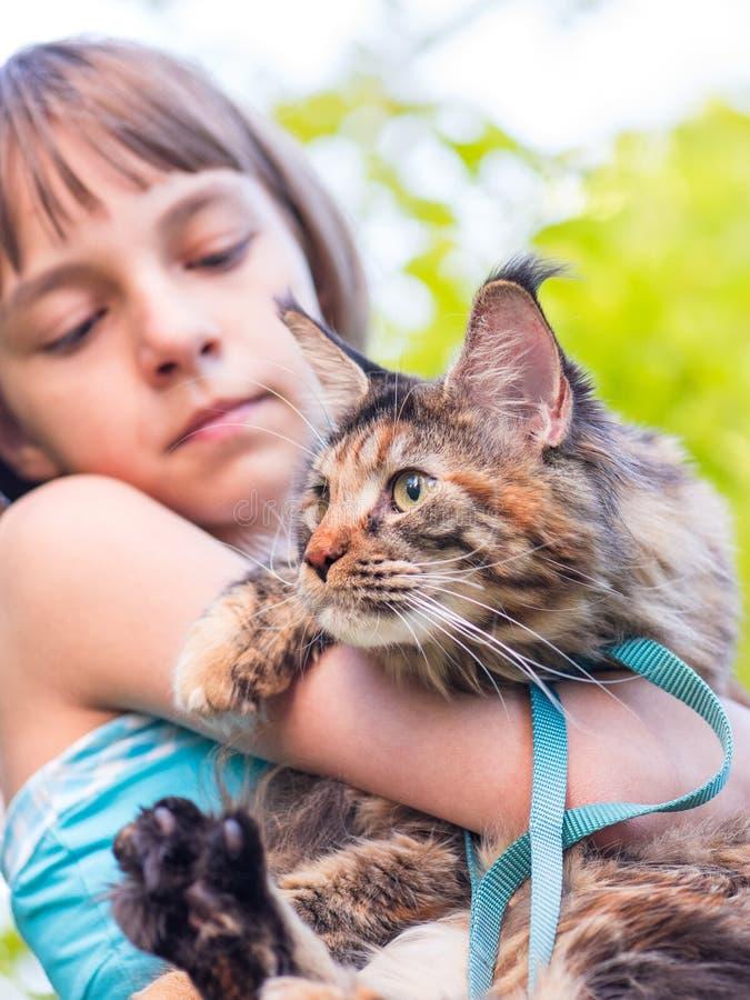 Barn med den Maine Coon kattungen arkivfoton