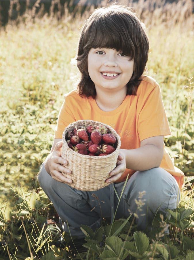 Barn med den soliga tr?dg?rden f?r jordgubbar med en sommardag royaltyfri foto