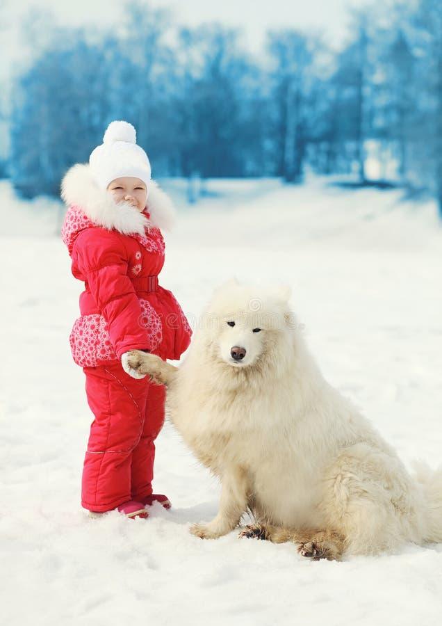 Barn med den vita Samoyedhunden på insnöad vinter arkivbilder