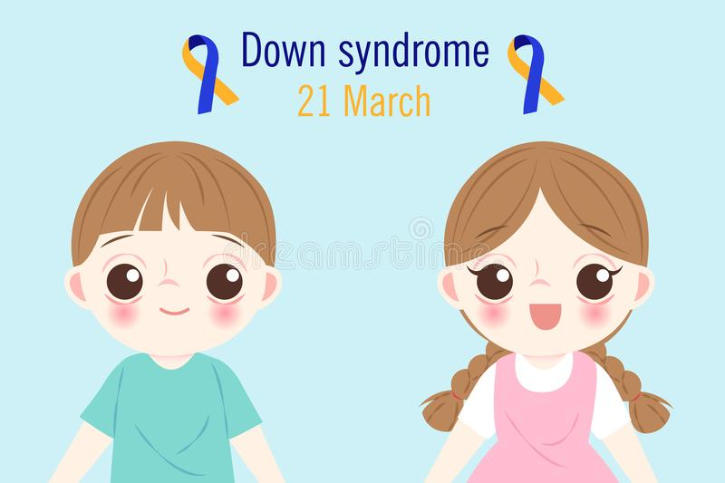 Barn med det Down Syndrome begreppet vektor illustrationer