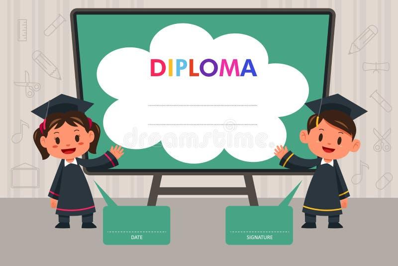 Barn med diplommallen royaltyfri illustrationer