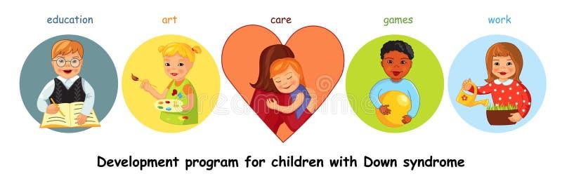Barn med Down Syndrome utveckling vektor illustrationer