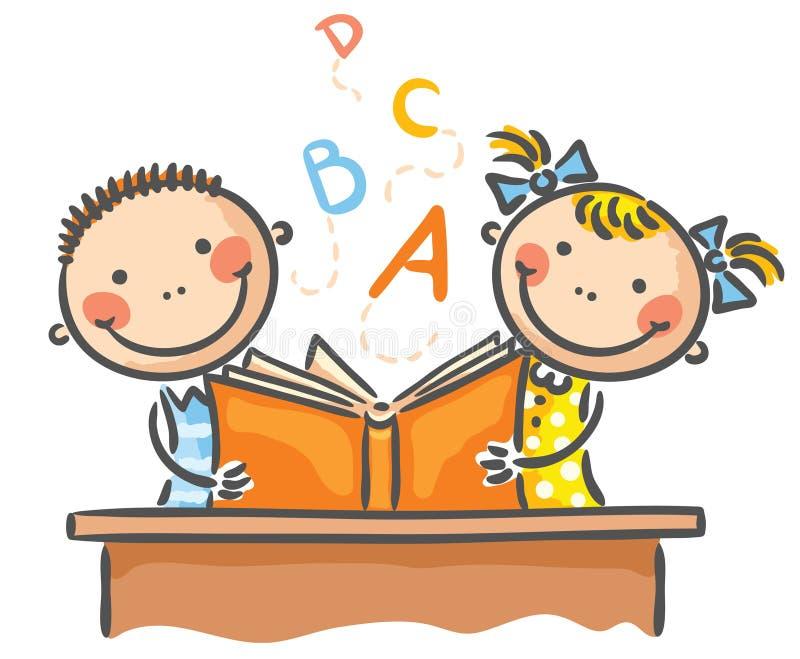 Barn med en bok royaltyfri illustrationer