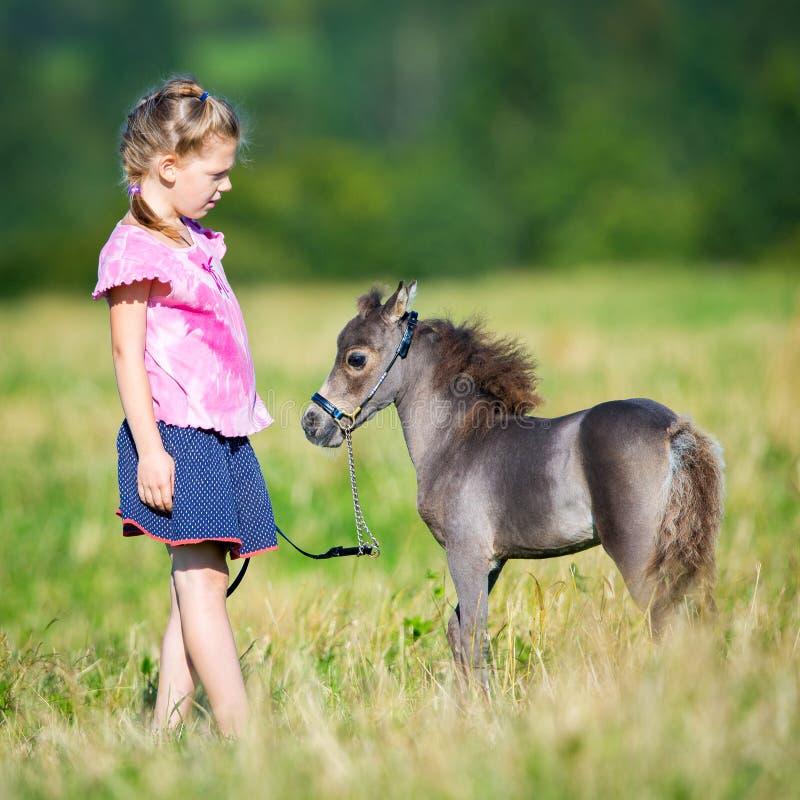 Barn med en liten miniatyrhäst i fält arkivfoton
