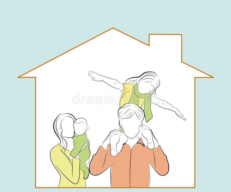Barn med föräldrar håller ögonen på hemifrån lycklig familj i deras hem också vektor för coreldrawillustration stock illustrationer