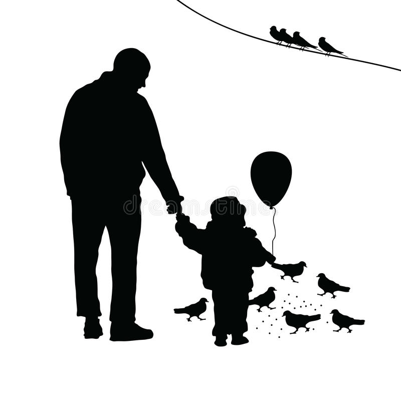 Barn med farsaillustrationkonturn stock illustrationer