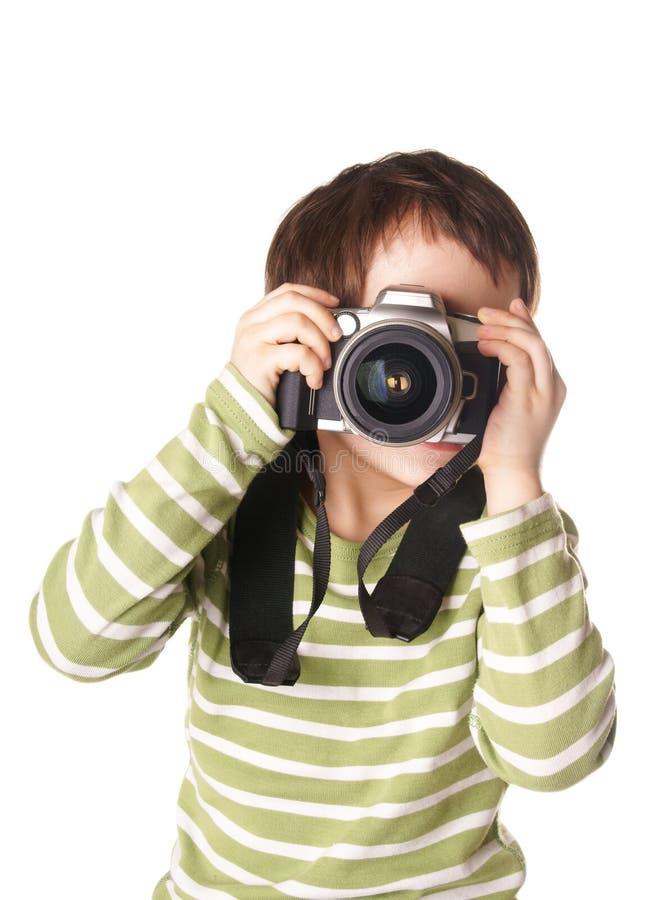 Barn med kameran arkivfoto