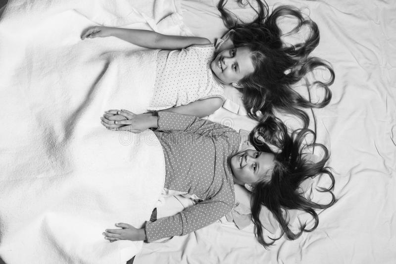 Barn med lyckliga framsidor och hjärtor som göras av hår, ligger på rosa bakgrund Skolflickor som har händer för innehav för paja royaltyfri fotografi