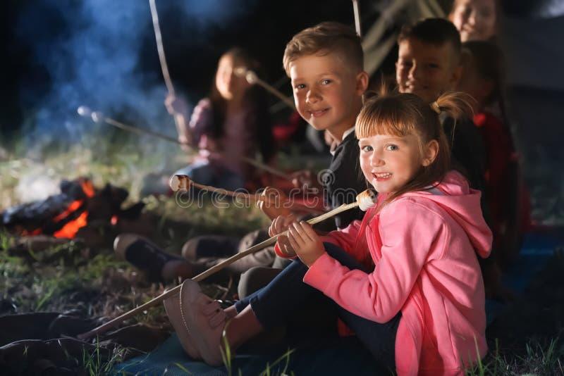 Barn med marshmallower near brasan på natten arkivfoton