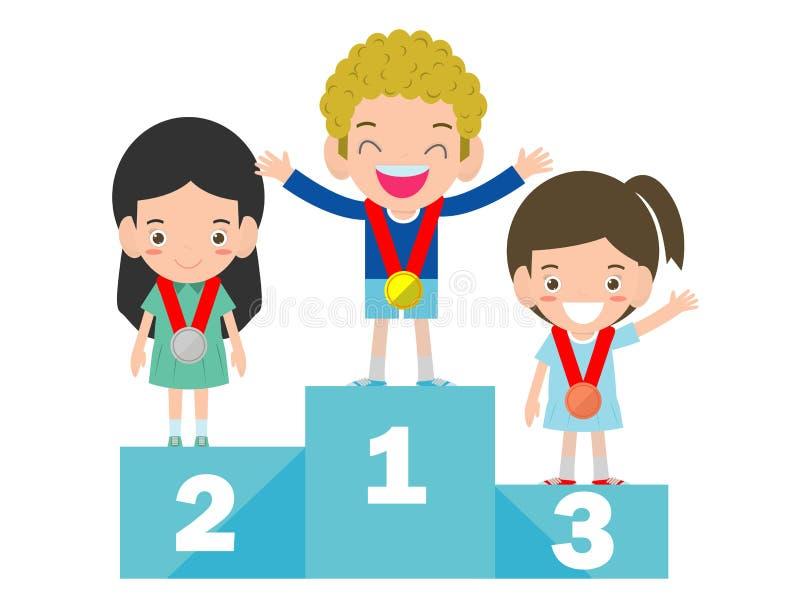 Barn med medaljer för segerställning på sportsockeln, medaljörungar som står på konkurrensvinnarepodiet vektor illustrationer