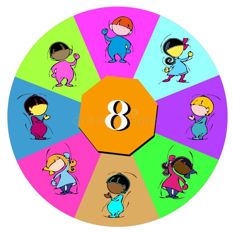 Barn med nummer åtta royaltyfri illustrationer