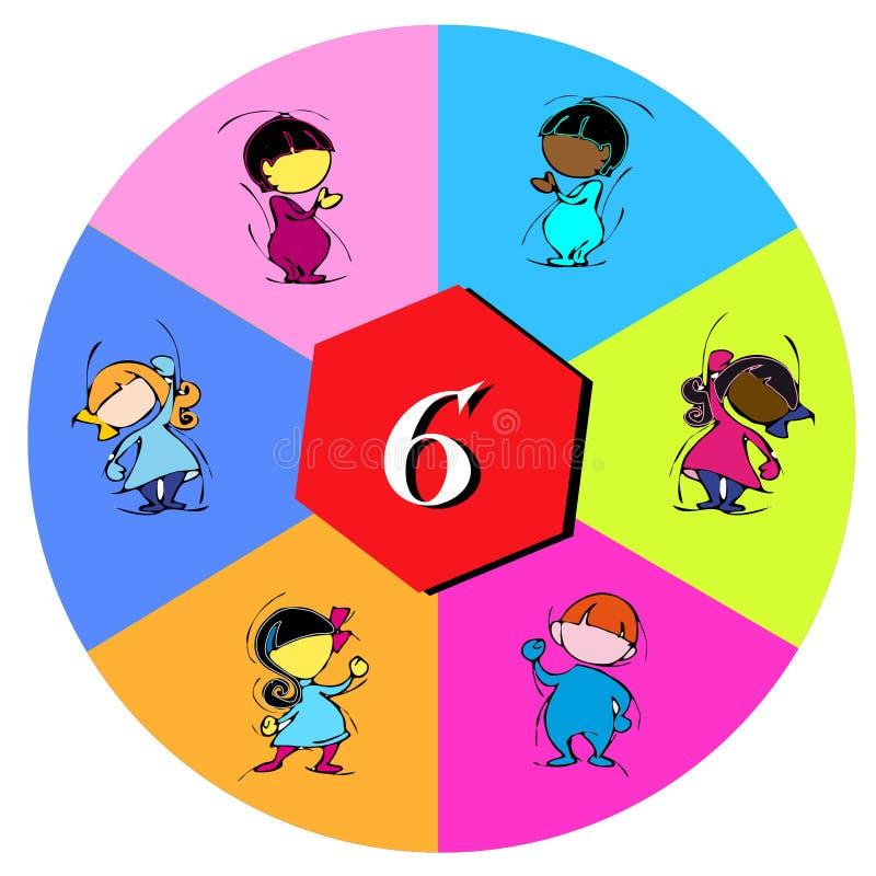Barn med nummer sex royaltyfri illustrationer