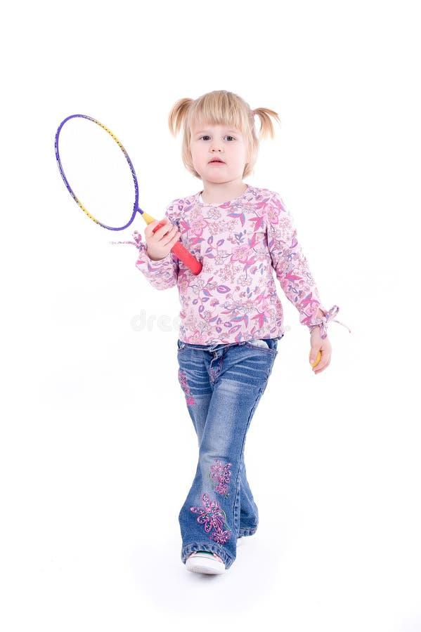 Barn med racket arkivbilder