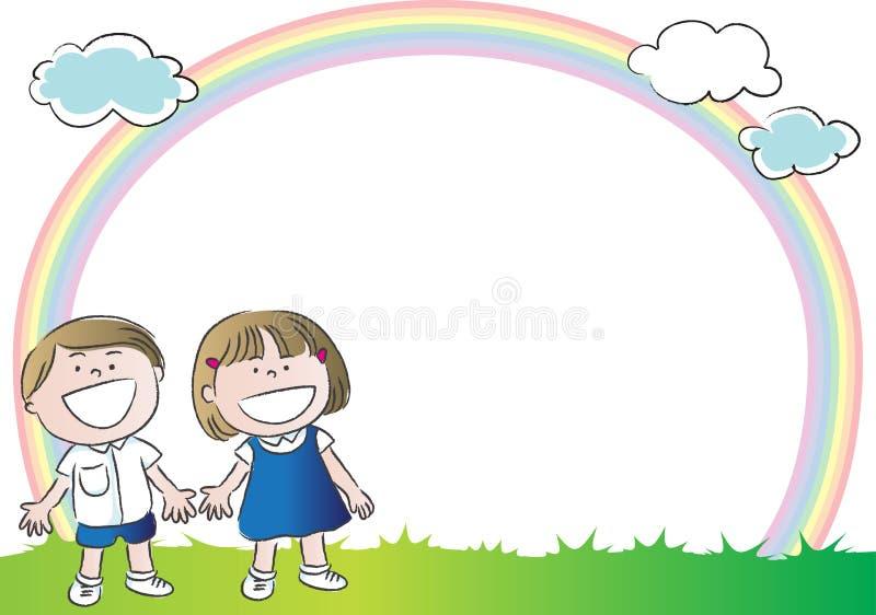Barn med regnbågen i bakgrunden royaltyfri illustrationer