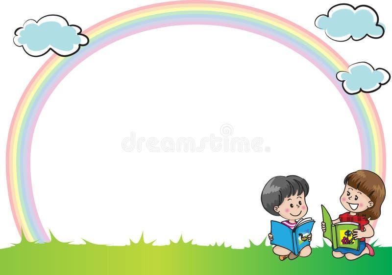 Barn med regnbågen i bakgrunden vektor illustrationer