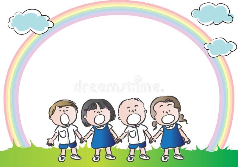 Barn med regnbågen i bakgrunden stock illustrationer