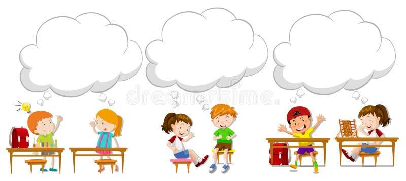 Barn med tomma anförandebubblor vektor illustrationer