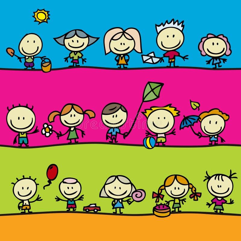 Barn med toys royaltyfri illustrationer
