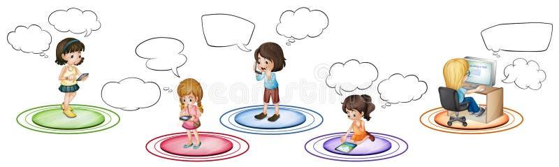Download Barn Meddelar Till Och Med Olika Apparater Vektor Illustrationer - Illustration av tecken, telefon: 78732148