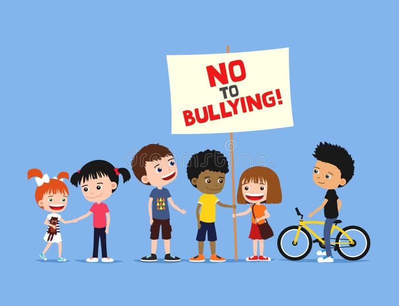 Barn mot pennalism Grupp av olika ungar som rymmer banret på en blå bakgrund gullig illustration för tecknad film royaltyfri illustrationer
