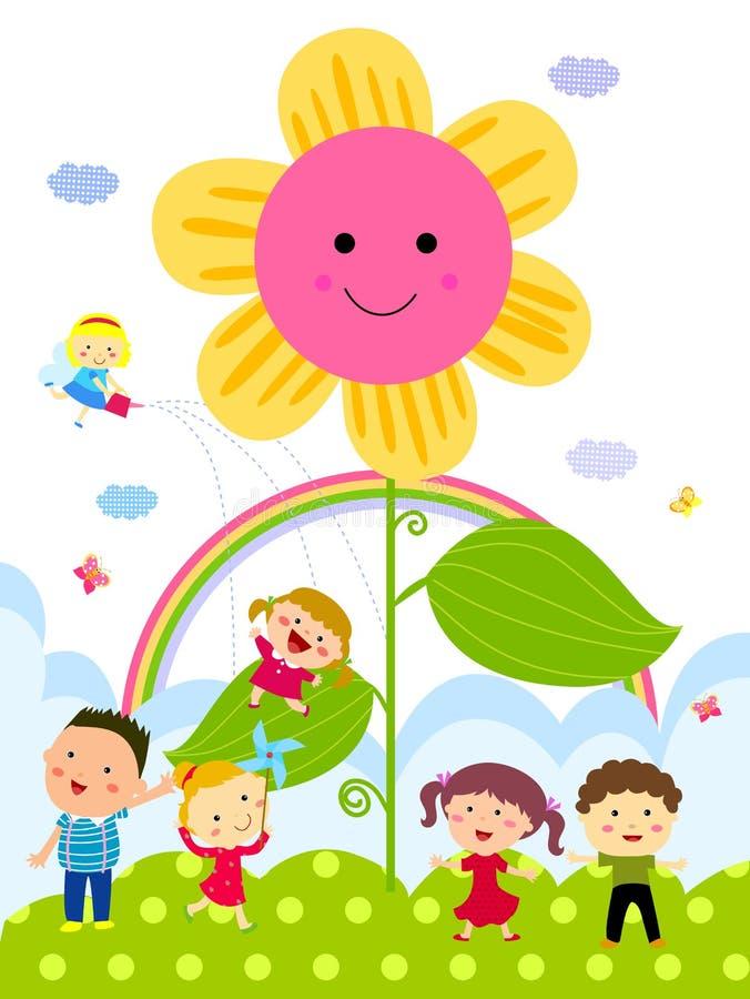 Barn och blomma vektor illustrationer