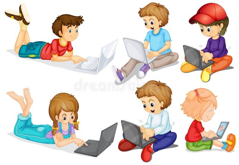 Barn och dator stock illustrationer
