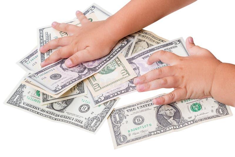 Barn och dollar royaltyfria bilder