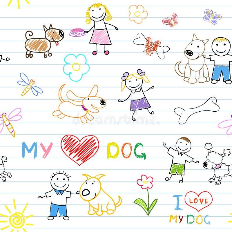 Barn och hundkapplöpning stock illustrationer