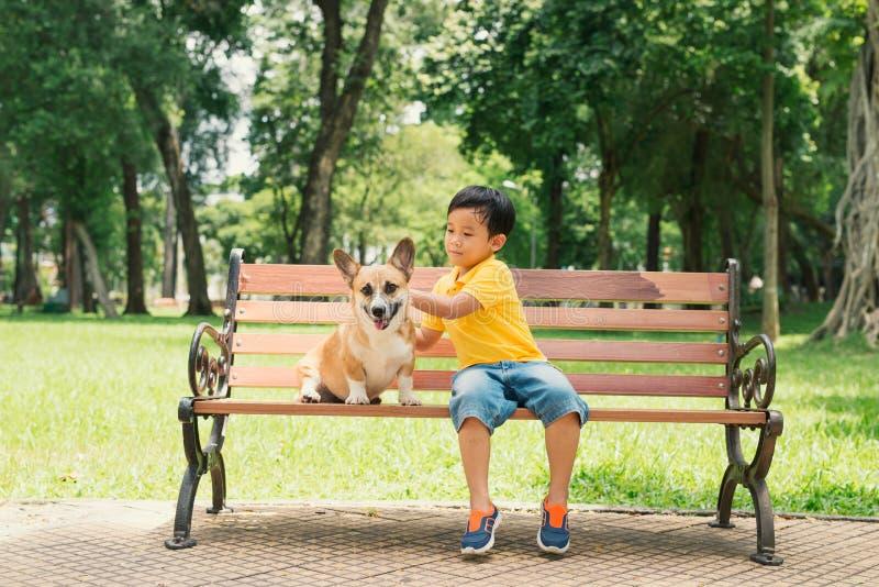 Barn och hundkapplöpning utomhus Den asiatiska pysen som tycker om och spelar i, parkerar med hans förtjusande Pembroke Welsh Cor royaltyfri foto