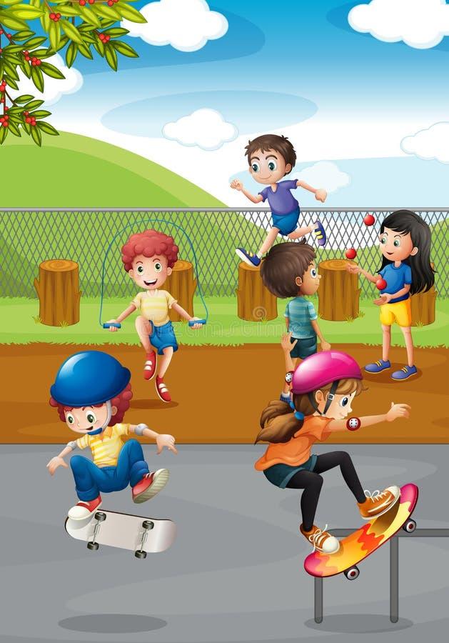Barn och lekplats stock illustrationer