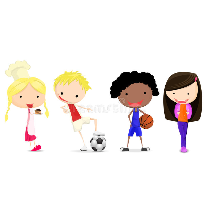 Barn och lycklig hobby royaltyfri illustrationer