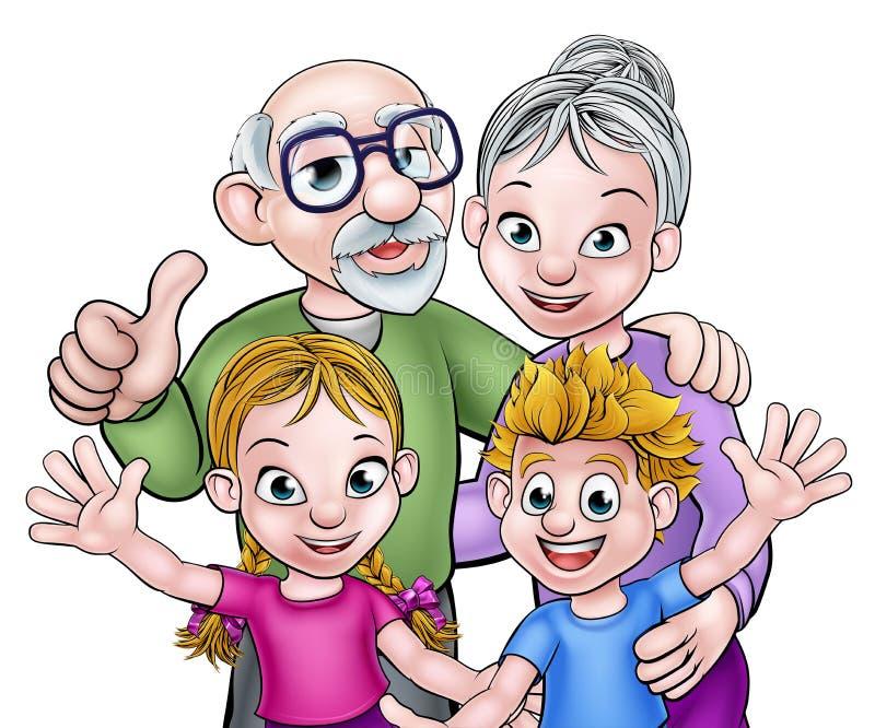 Barn- och morföräldertecknad filmtecken vektor illustrationer
