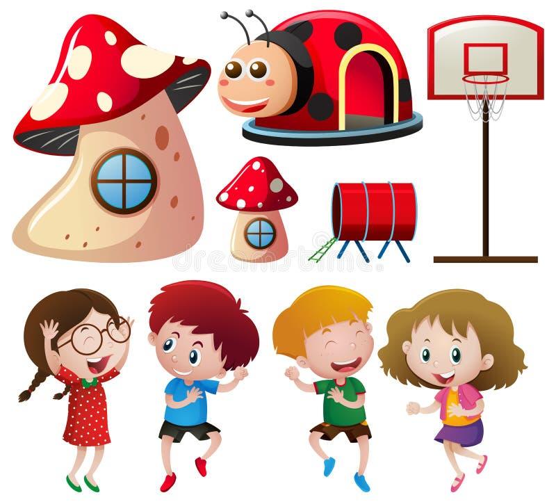 Barn och olika lekstationer stock illustrationer