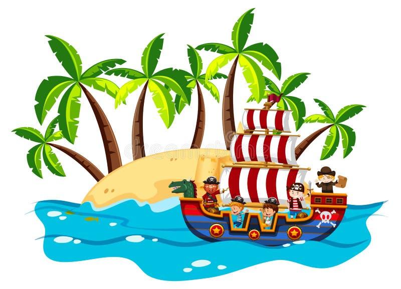 Barn och piratkopierar på det viking skeppet stock illustrationer
