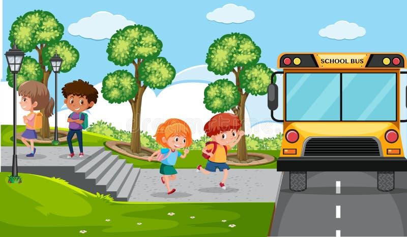 Barn och skolbuss vektor illustrationer