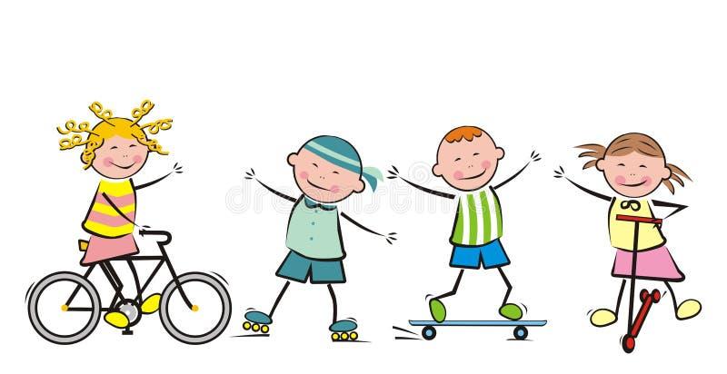 Barn och sport royaltyfri illustrationer