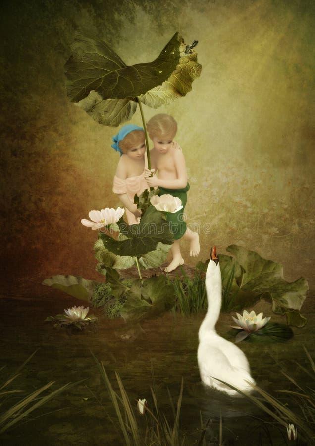 Barn och svan arkivbild