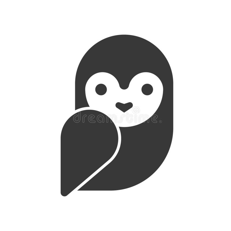 Barn owl, Halloween related icon, pixel perfect design.  stock illustration