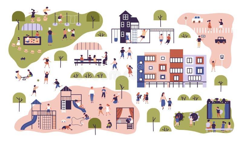 Barn på det moderna dagiset Förskole- grupper som har utomhus- aktiviteter Ungar som spelar lekar och att ha gyckel på stock illustrationer