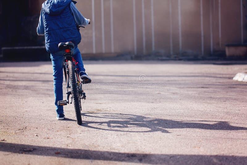 Barn på en cykel på asfaltvägen i ottasommardag royaltyfri fotografi