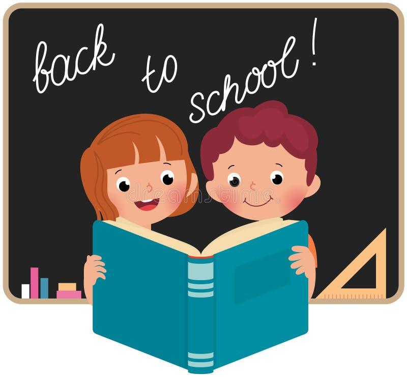Barn på skolan som läser en bok vektor illustrationer