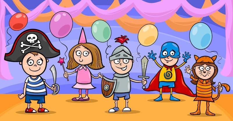 Barn på tecknade filmen för utsmyckad boll stock illustrationer
