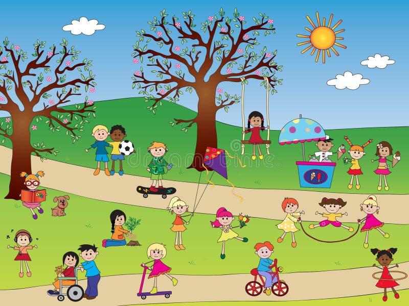 Barn parkerar vektor illustrationer