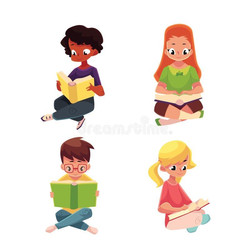 Barn pojkar och flickor som läser intressant boksammanträde på golv royaltyfri illustrationer