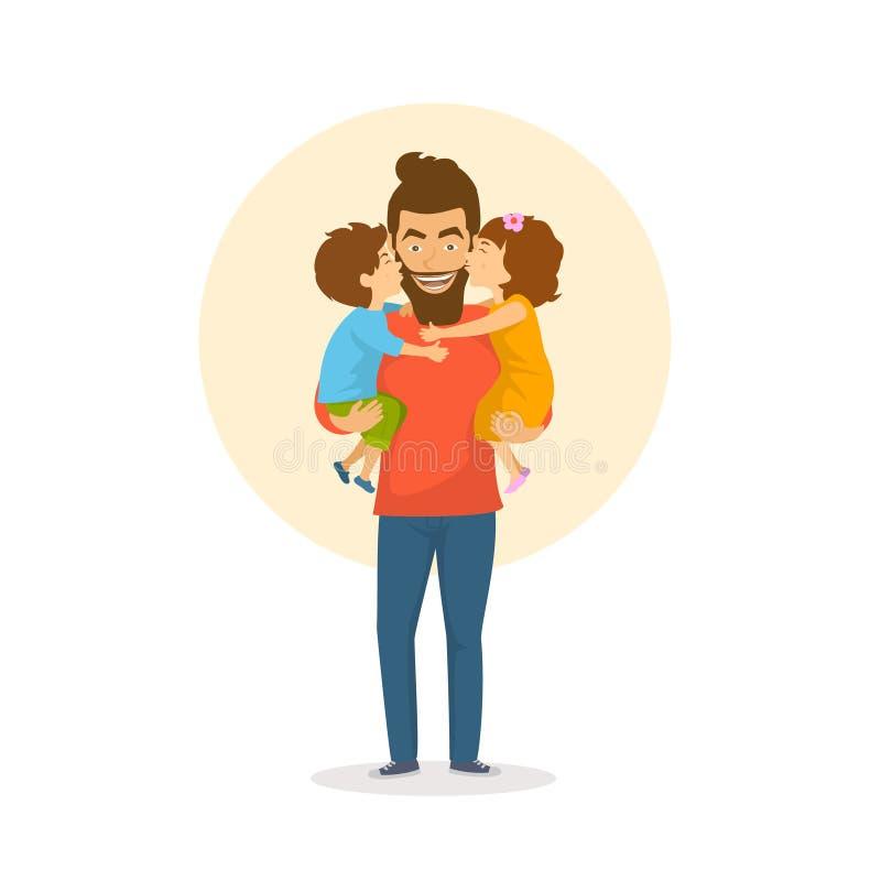 Barn, pojke och flicka, dotter och son som kysser krama deras fader, lyckliga lyckönskan för faderdag stock illustrationer