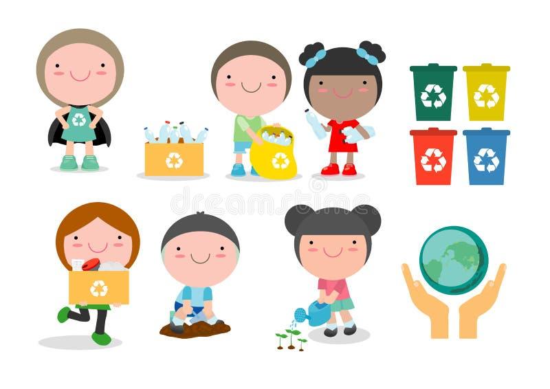 Barn rackar ner på mot efterkrav för återanvändning, illustrationen av ungar som avskiljer avfall som återanvänder avfall, räddni royaltyfri illustrationer