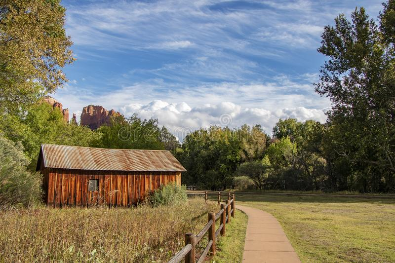 Rustic Barn at Red Rock State park In Sedona, Arizona. Barn at Red Rock State park In Sedona, Arizona with Cathedral rock in background royalty free stock photos